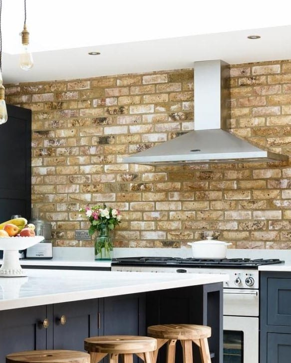 London Weathered Yellow Brick Slip Residential Kitchen