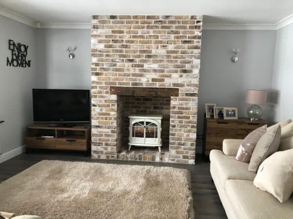 brick tiles fireplace