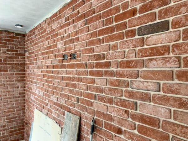 Reclaimed brick wall interior