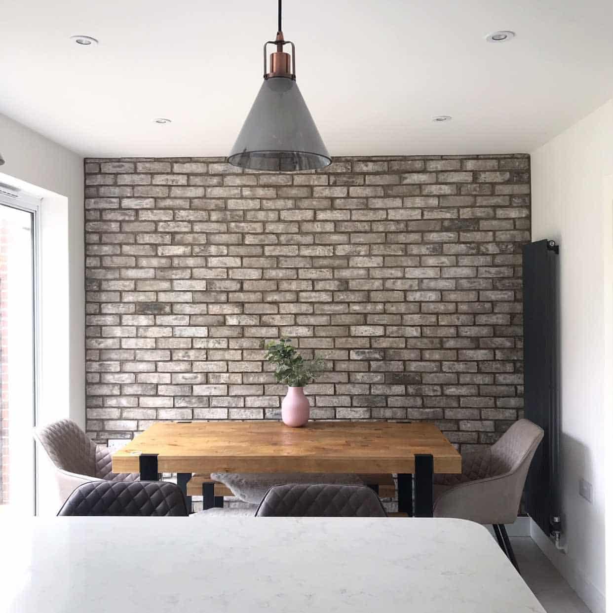 Grey dining room brick slips from stock