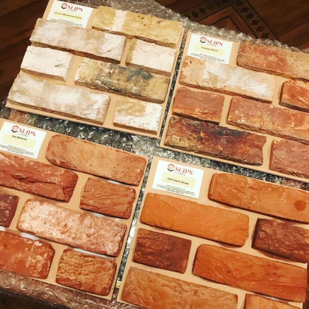 Brick slips or brick tiles