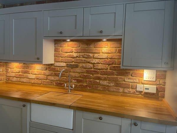 Kitchen splashback reclaimed brick tiles